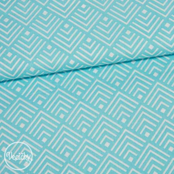 d5a0c7f6fb29 Bavlna - vzorovaný kosoštvorec - tyrkys biela