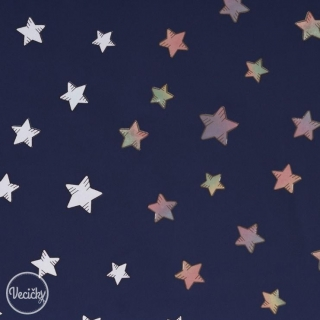 Magic Softshell - stars blue - zbytok 100 cm