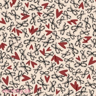 QUILTING TREASURES - BOWS & HEARTS BEIGE